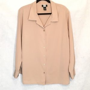 Studio 1940 18 20W Blouse Tan Button Down V Neck